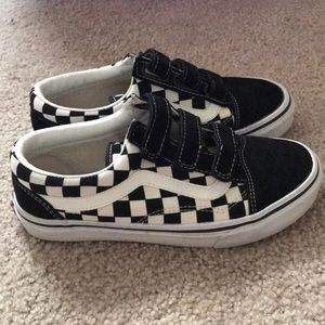 On Hold Checkerboard Velcro Vans